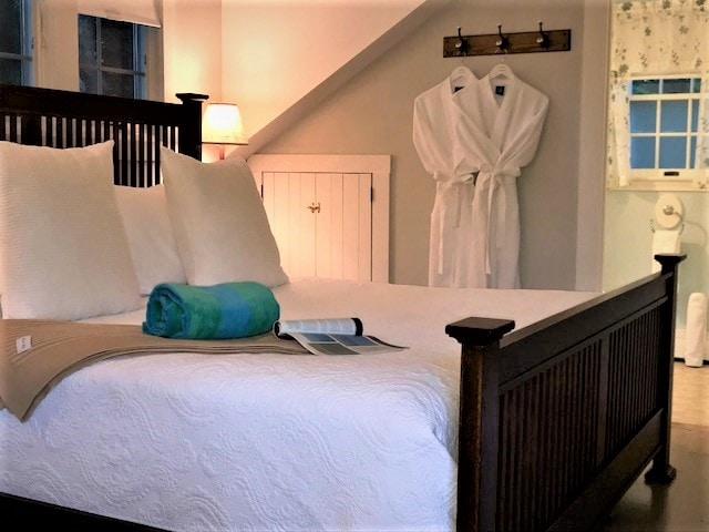 Bed with white linens