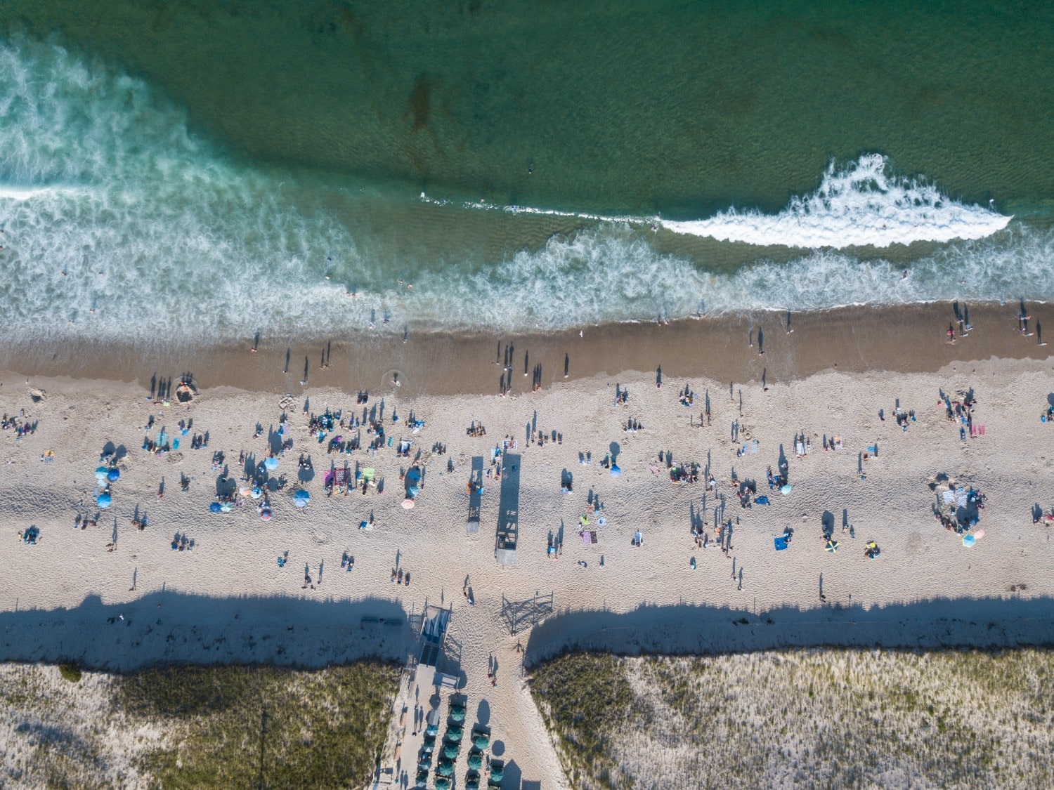 aerial shot of beach on cape cod
