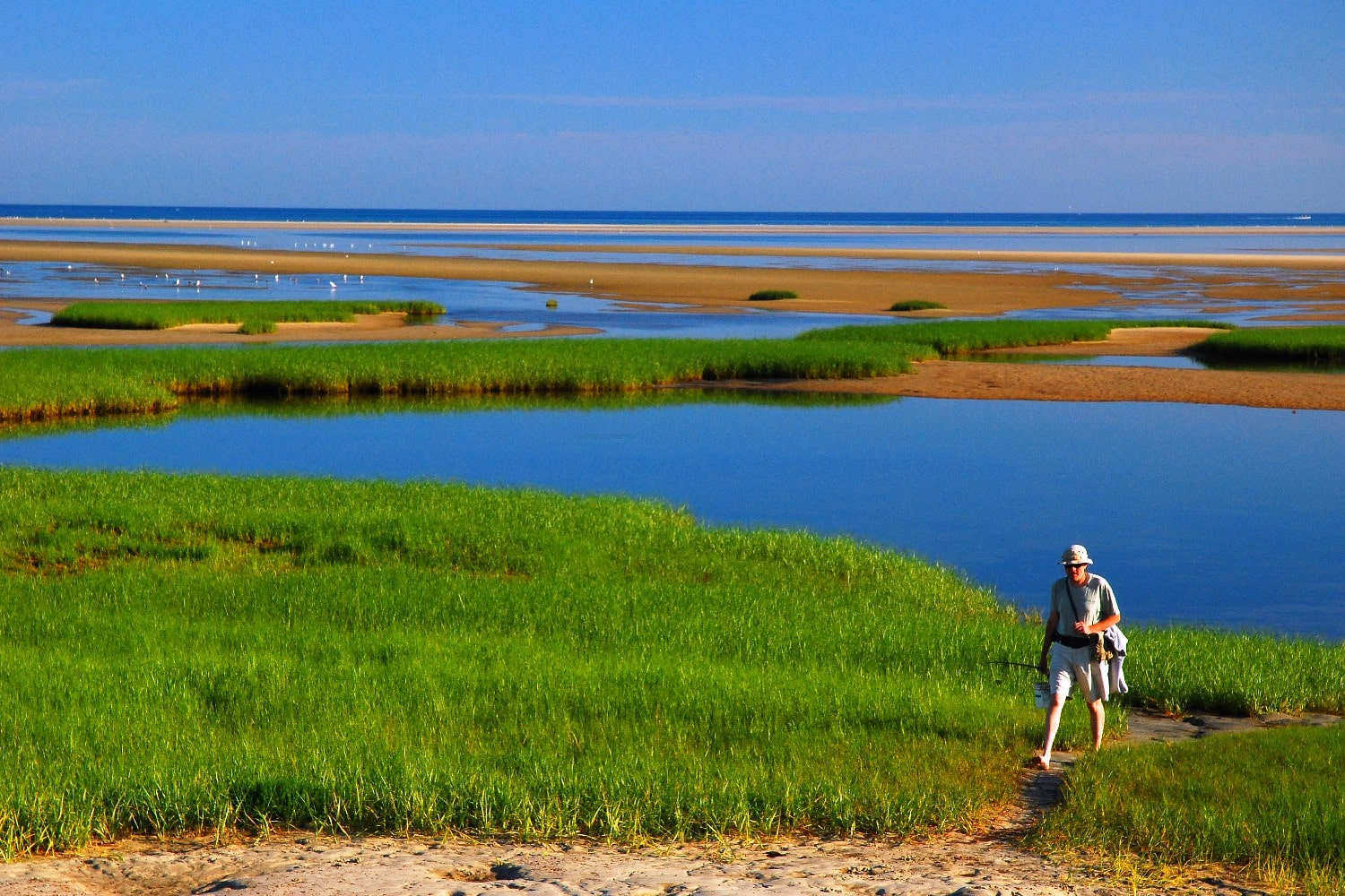 woman hiking on cape cod