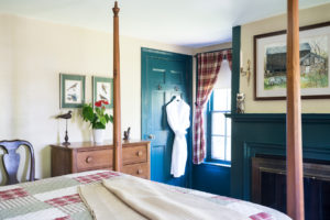 Bed view of the Highlands Room at Candleberry Inn.