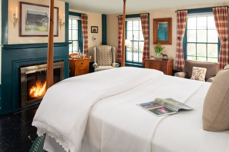 Bed view of the Highlands Room at Candleberry Inn on Cape Cod.