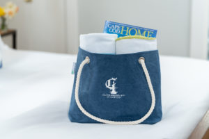 Handmade Tote Bag embroidered with Candleberry logo from local Cape Cod artisan