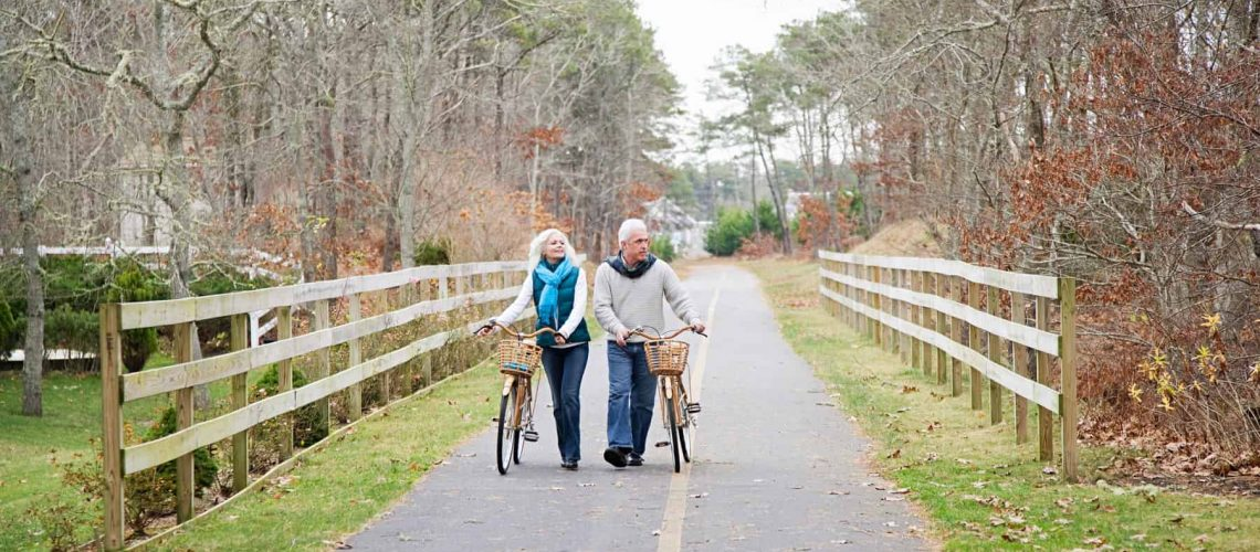 Mature couple with bicycles