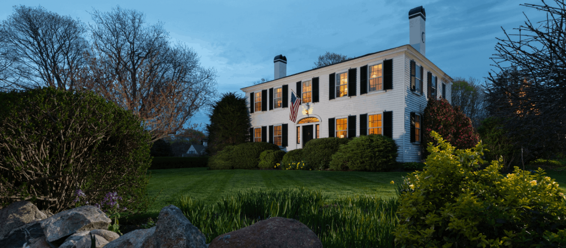 Candleberry Main Exterior Night Cape Cod Bed and Breakfast