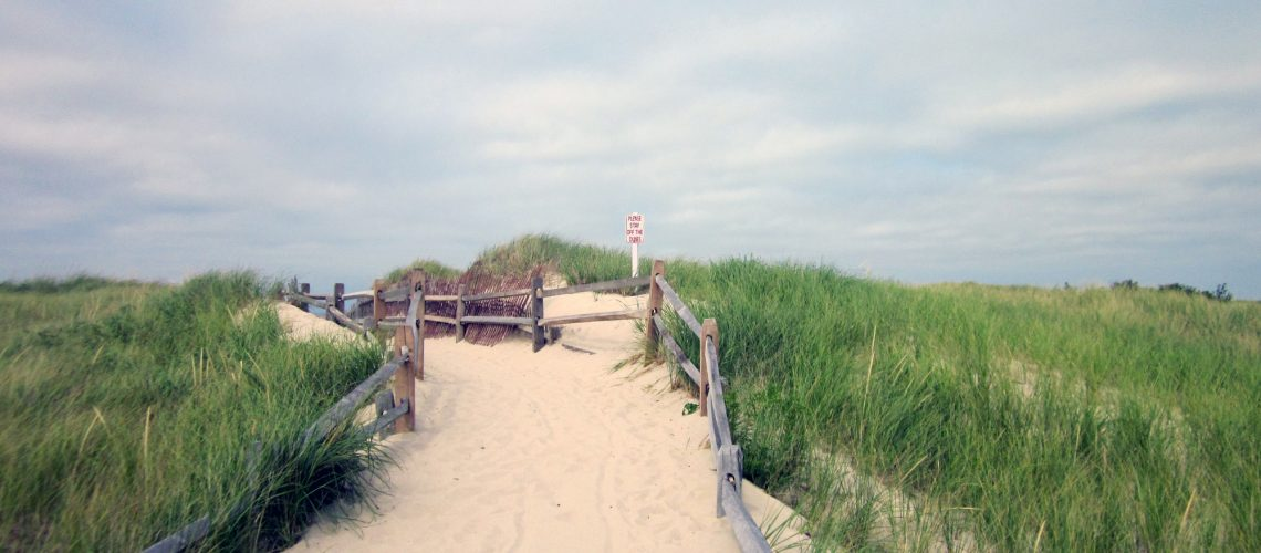 The dunes at Crosby Landing Beach in Brewster, MA
