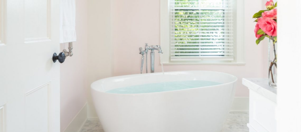 Free standing tub in Beach Rose room - Candleberry Inn Cape Cod Bed and Breakfast