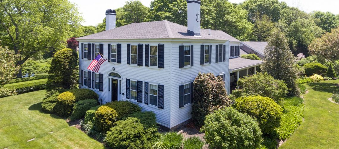 Aerial view of Candleberry Inn on Cape Cod.