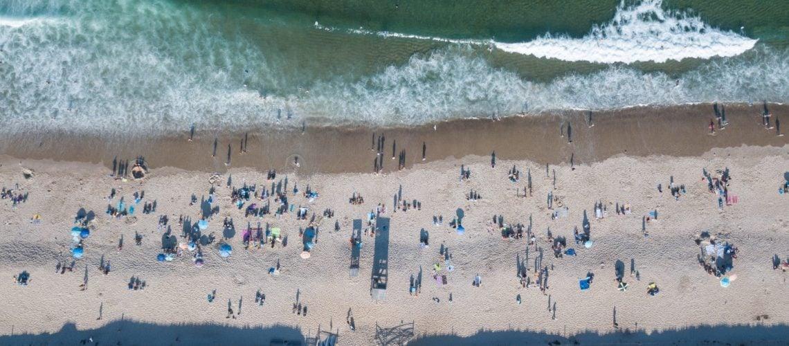 aerial shot of beach on cape cod