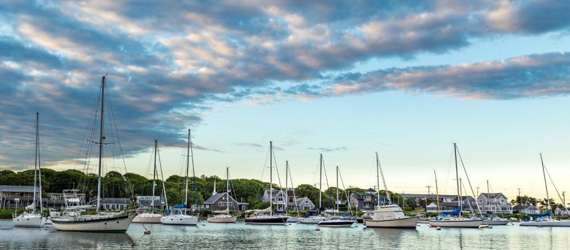 Boats on Falmouth Harbor, Cape Cod.