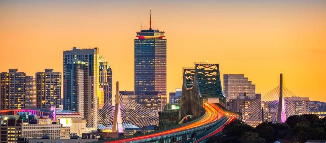 Night view of the Boston skyline.