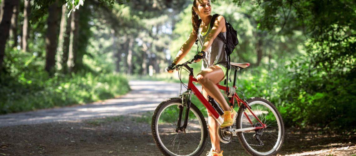 Girl on bike path on cape cod